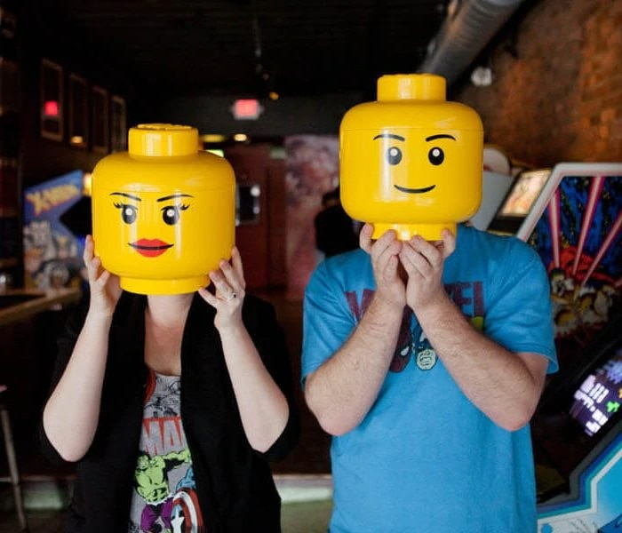 couple with lego head